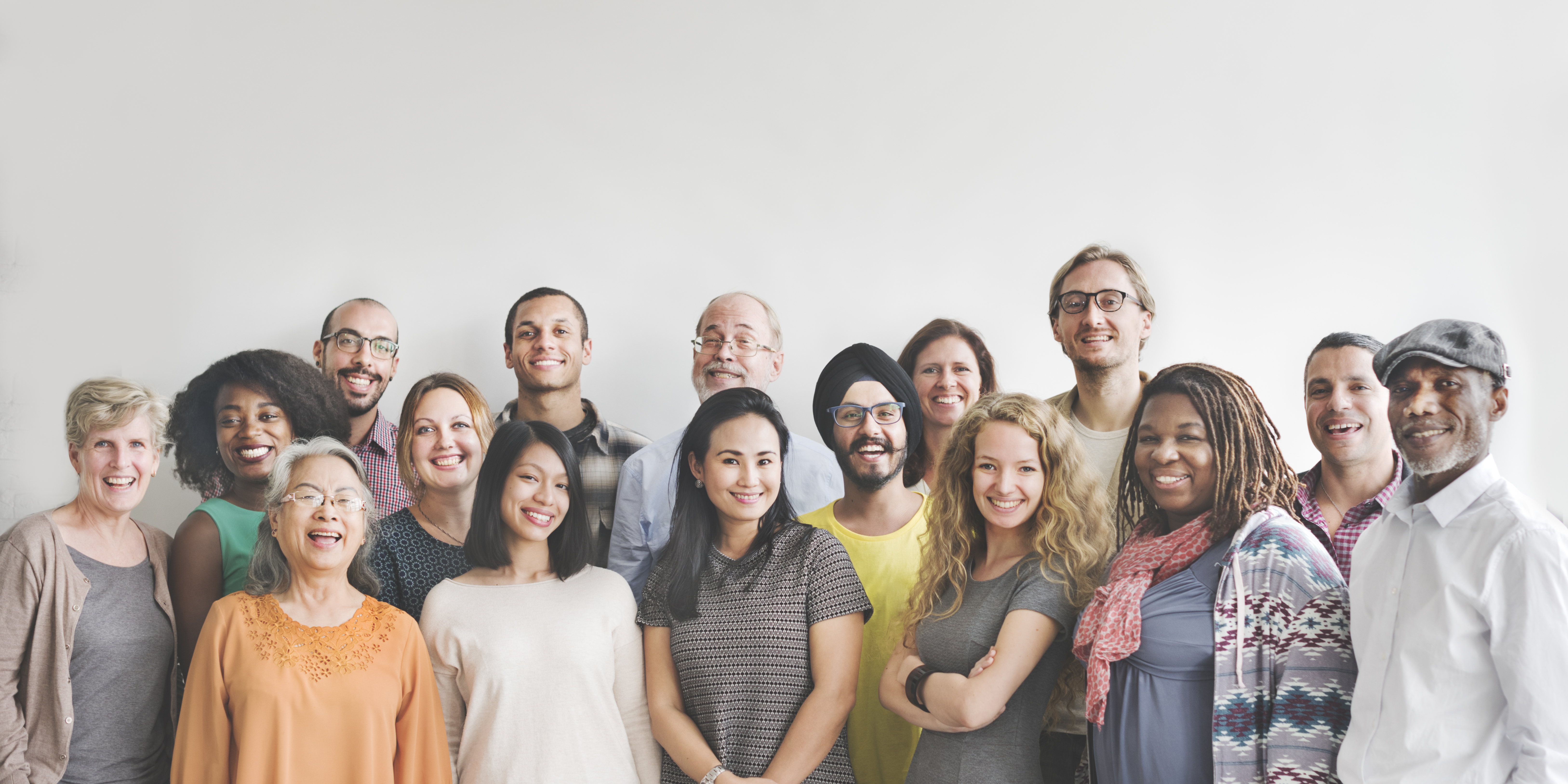 diverse group of people smiling